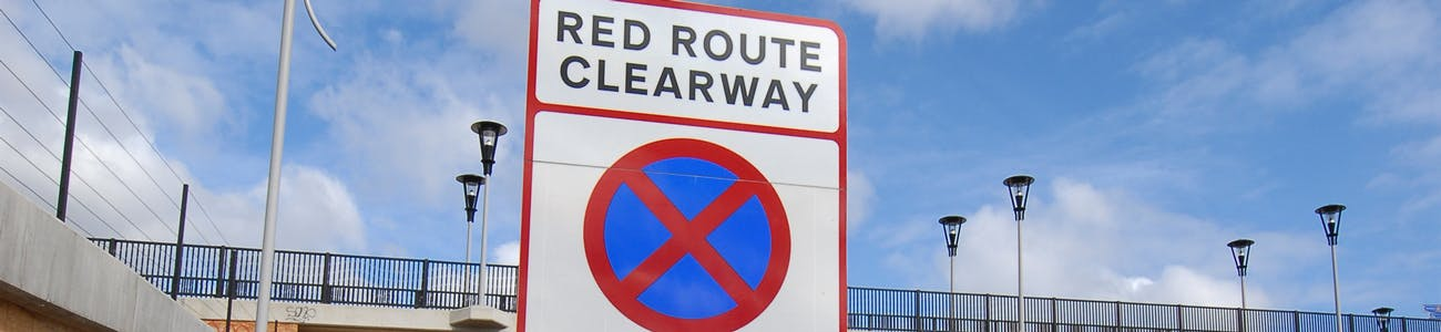 Red route traffic sign