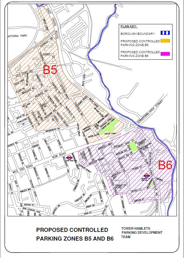 Map of the proposed parking zones B5 and B6