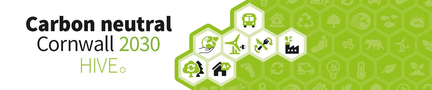 Carbon Neutral Cornwall Hive banner graphics
