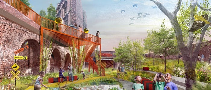 Picture showing an artist's impression of a green open space with children playing and views of heritage railway arches.