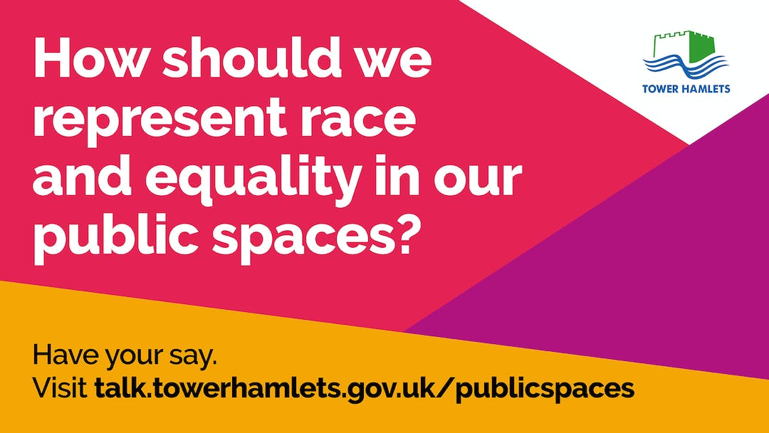 A graphic with the words 'How should we represent race and equality in public spaces' and the web address for this webpage