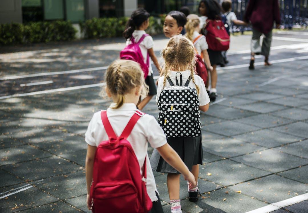 Children walking safely to school