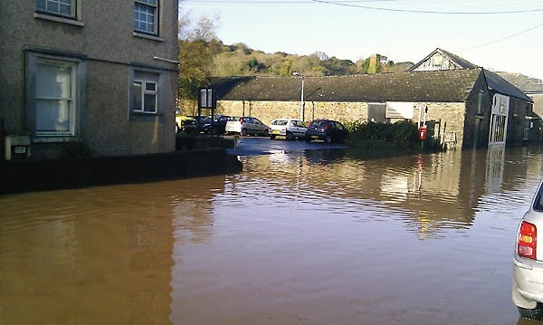 Flooding along Station Road in front of the car park