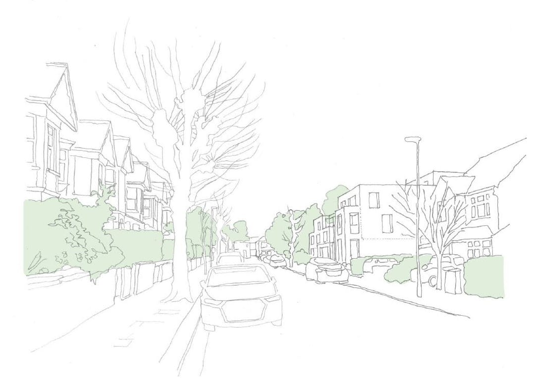 This sketch shows the view of the development as if you were on Bow Lane, looking towards Granville Road.