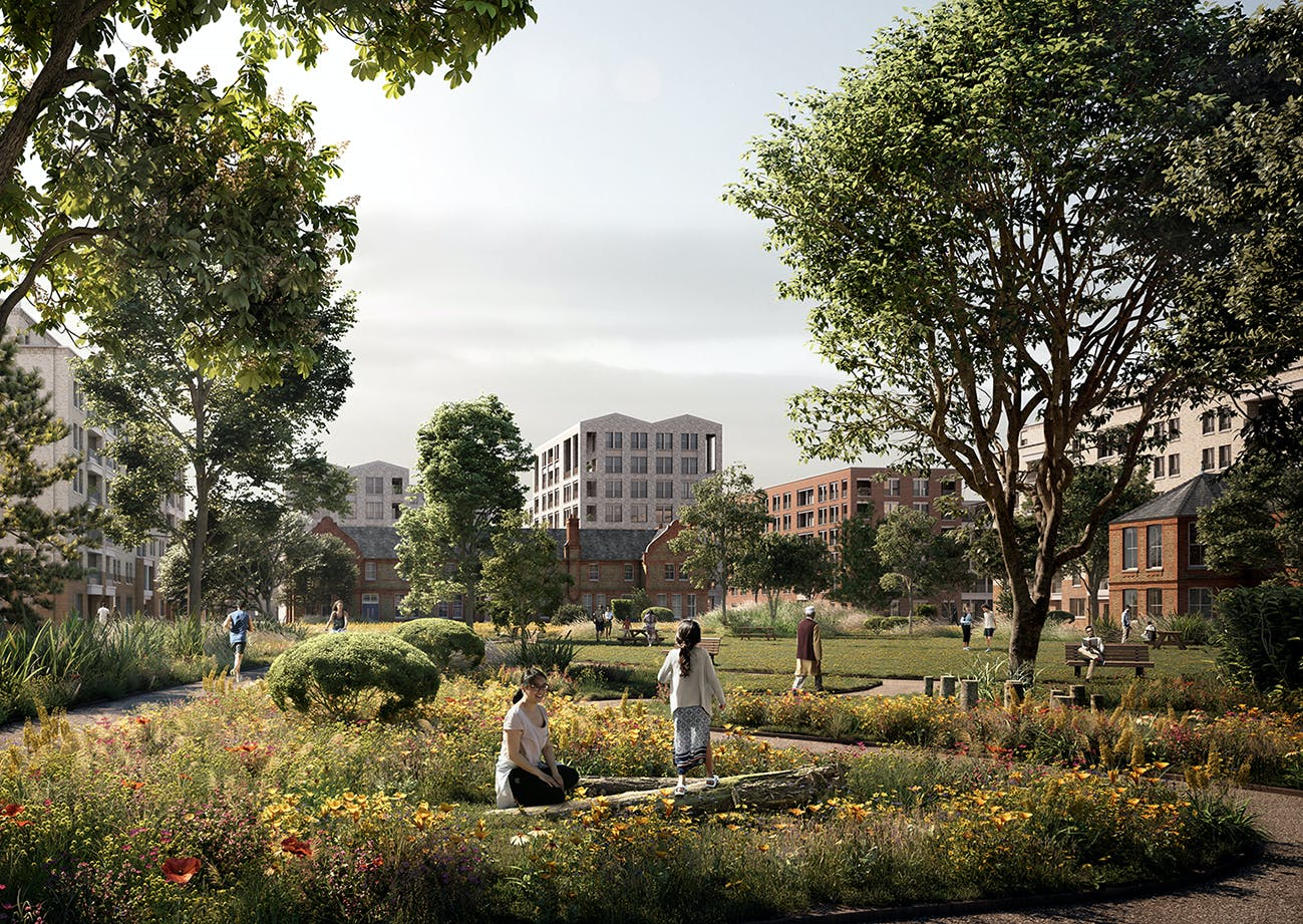 Summer View of the enlarged Peace Garden at the heart of the new neighbourhood, framing the historic buildings