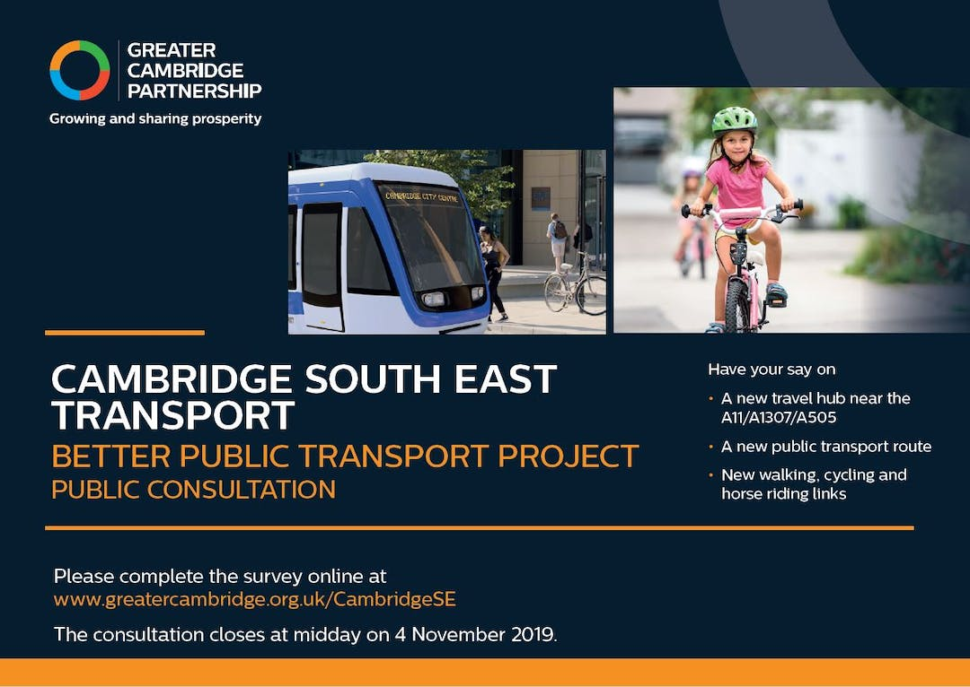 Have your say on - a new travel hub near the A11/A1307/A505 - a new public transport route - new walking, cycling and horse riding links