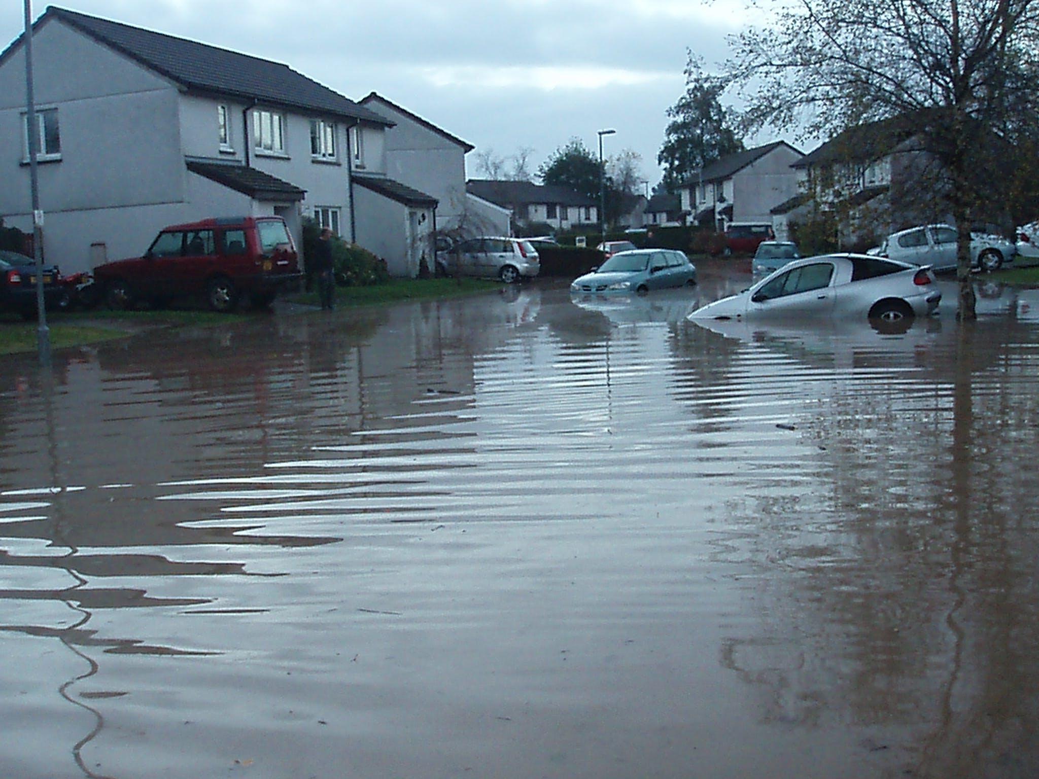 Aberdeen Close full of flood water  up to car bonnet level