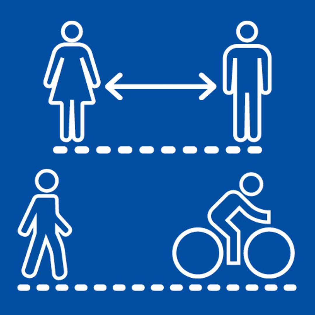 streetspace graphic showing social distancing