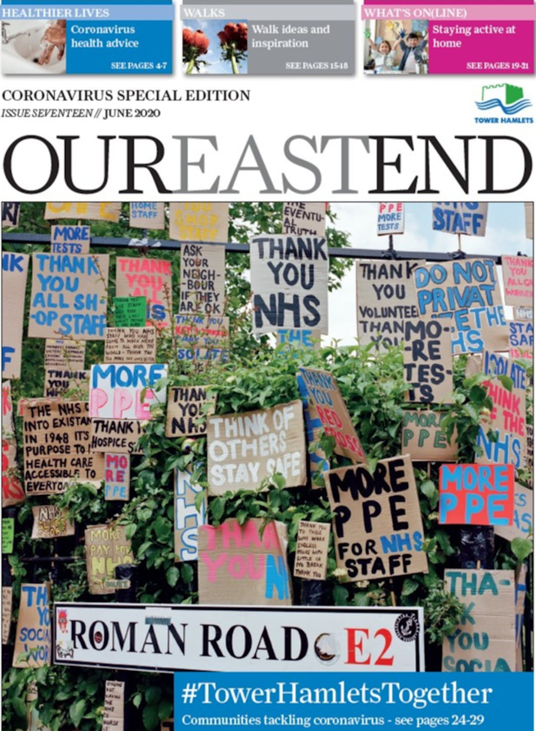 An image of the front cover of the June 2020 Our East End.