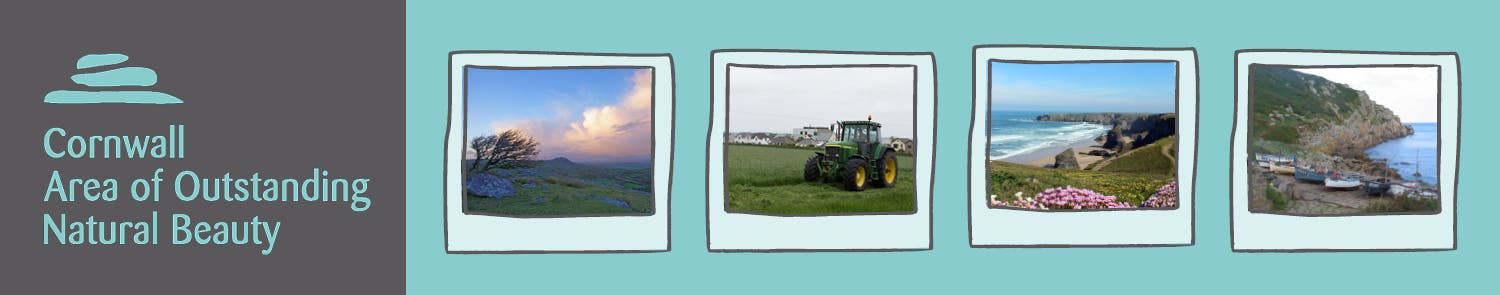 Cornwall AONB logo and photos page banner