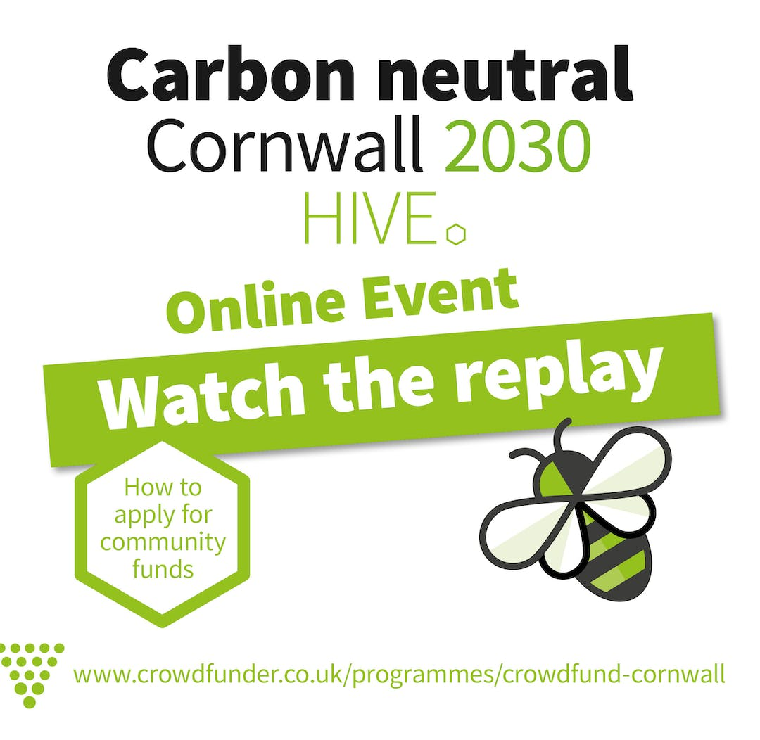 Carbon Neutral Cornwall Hive online event replay graphic