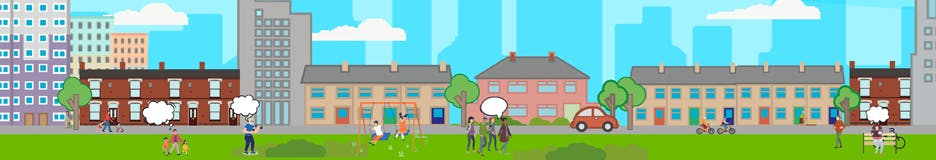 Animation of homes and people talking