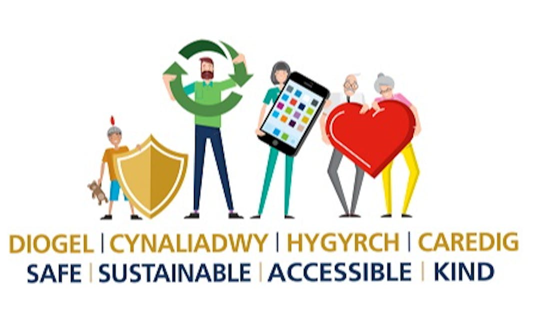 Artwork depicting the Strategy's message: Safe, sustainable, accessible and kind