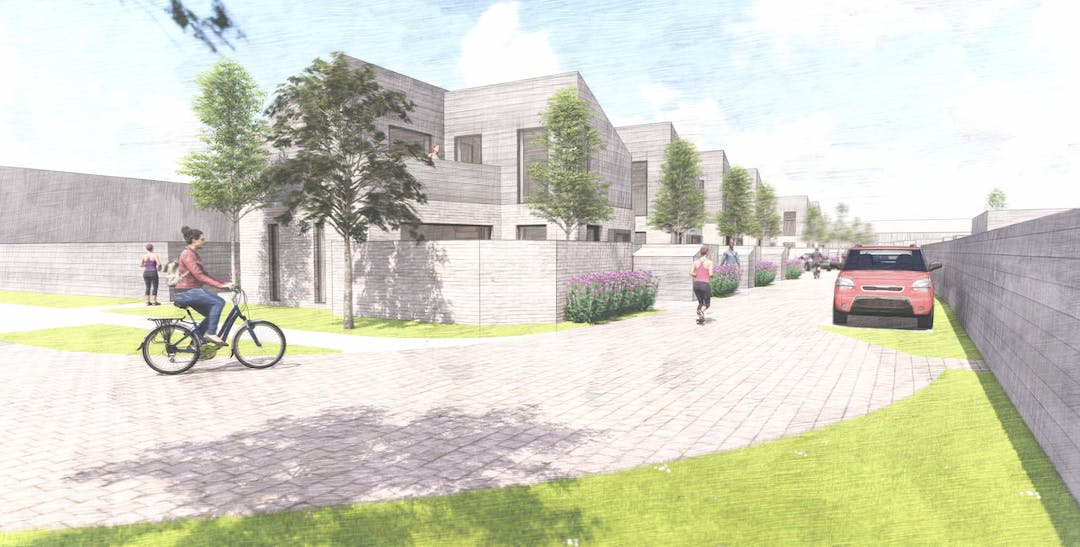 a computer generated image of vigerons way housing development.  A paved road sweeps across from right to left with the new houses and planted trees around the road towards the background of the image.