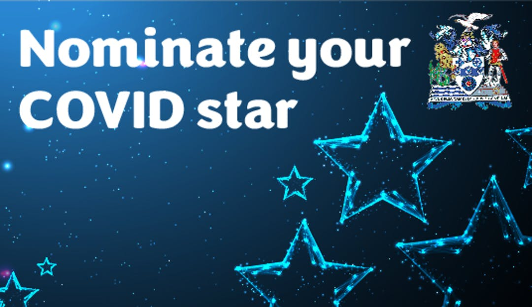 A blue background with stars, that states Nominate your Covid Star, the Thurrock crest is in the top corner