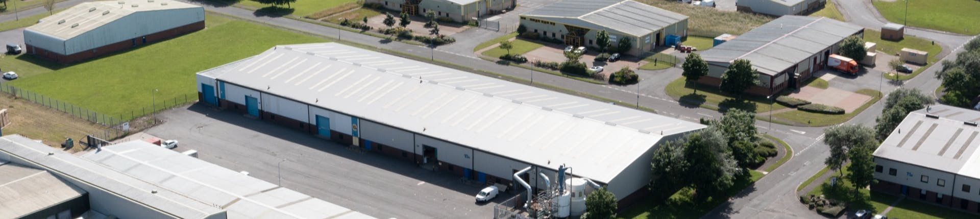Aerial view of a business park in Hartlepool showing a number of business units
