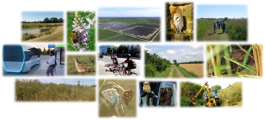 selection of nature and renewable energy images from around Cambridgeshire and the Cambridgeshire County Council logo