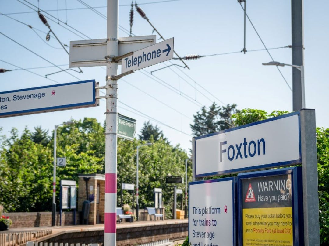 Foxton rail station, which is close to the proposed Foxton travel hub