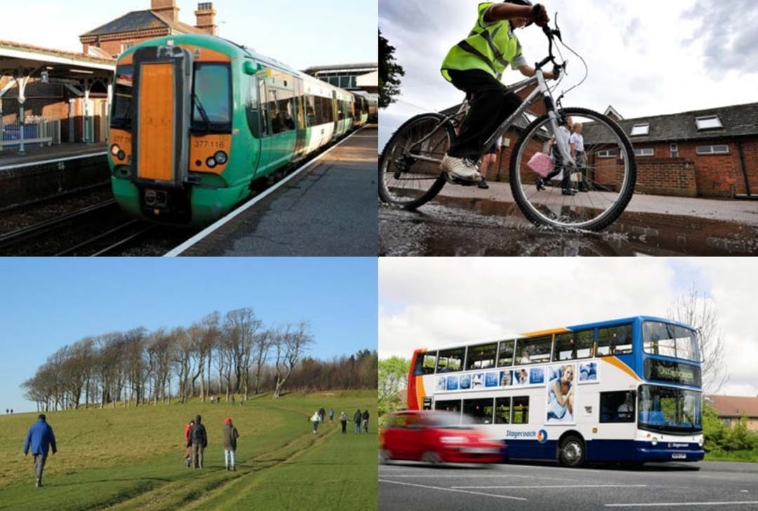 Image of train, bike, walking and bus with car
