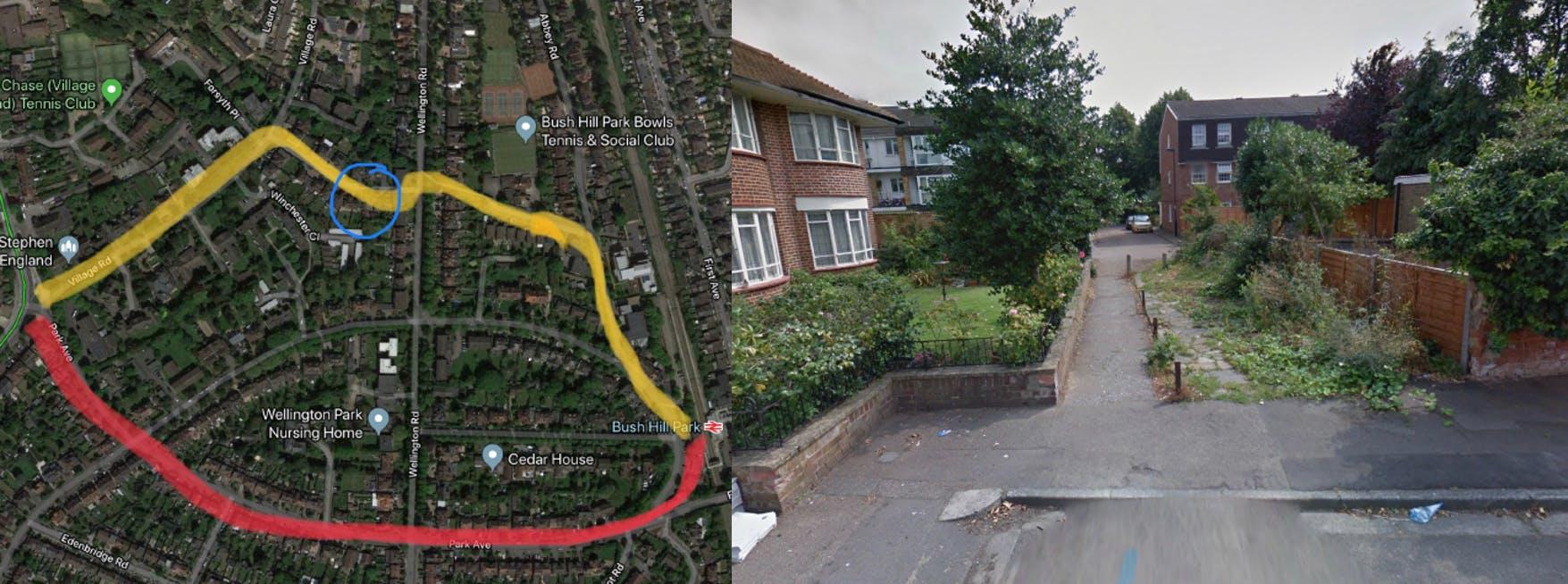 Example 1 - Athole Gardens to Wellington Road