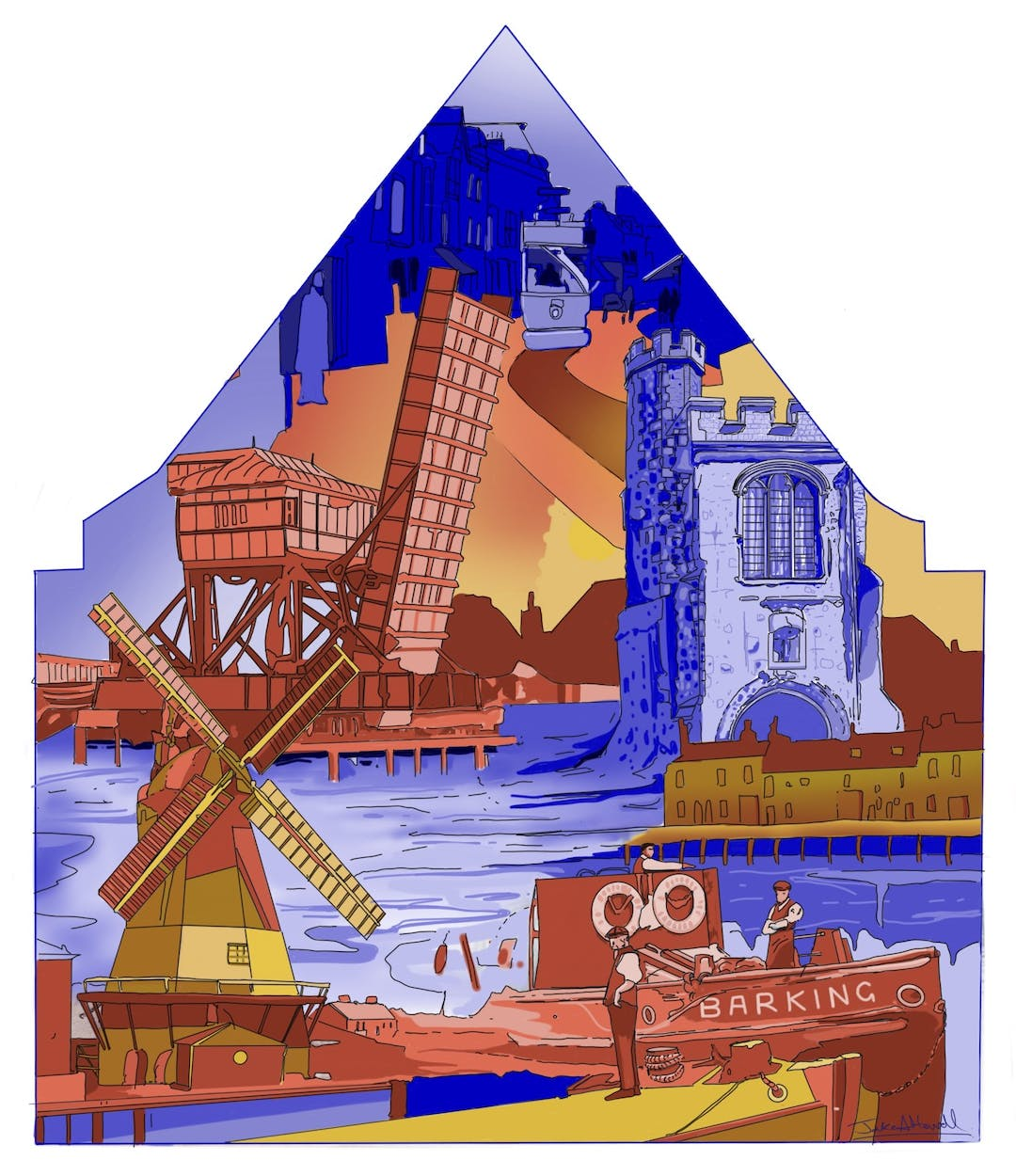 Jake has designed a modern take on John H King's Draper's - art display showing landmark buildings and trades from Barking's heritage - to celebrate the Barking Town Charter of 1931. This Street Art Mural is a 2021 take on Barking's heritage, much of it lost but still valued by residents past and present and the stories have relevance for the newest visitors to this ancient town...