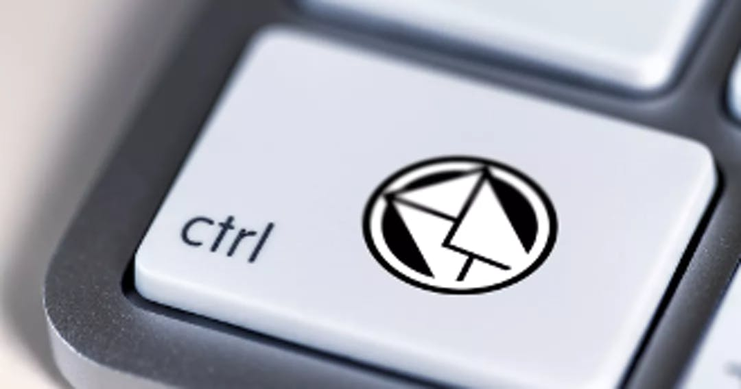 Image of a Control key on a computer keyboard, with an additional envelope icon to signify e-mail