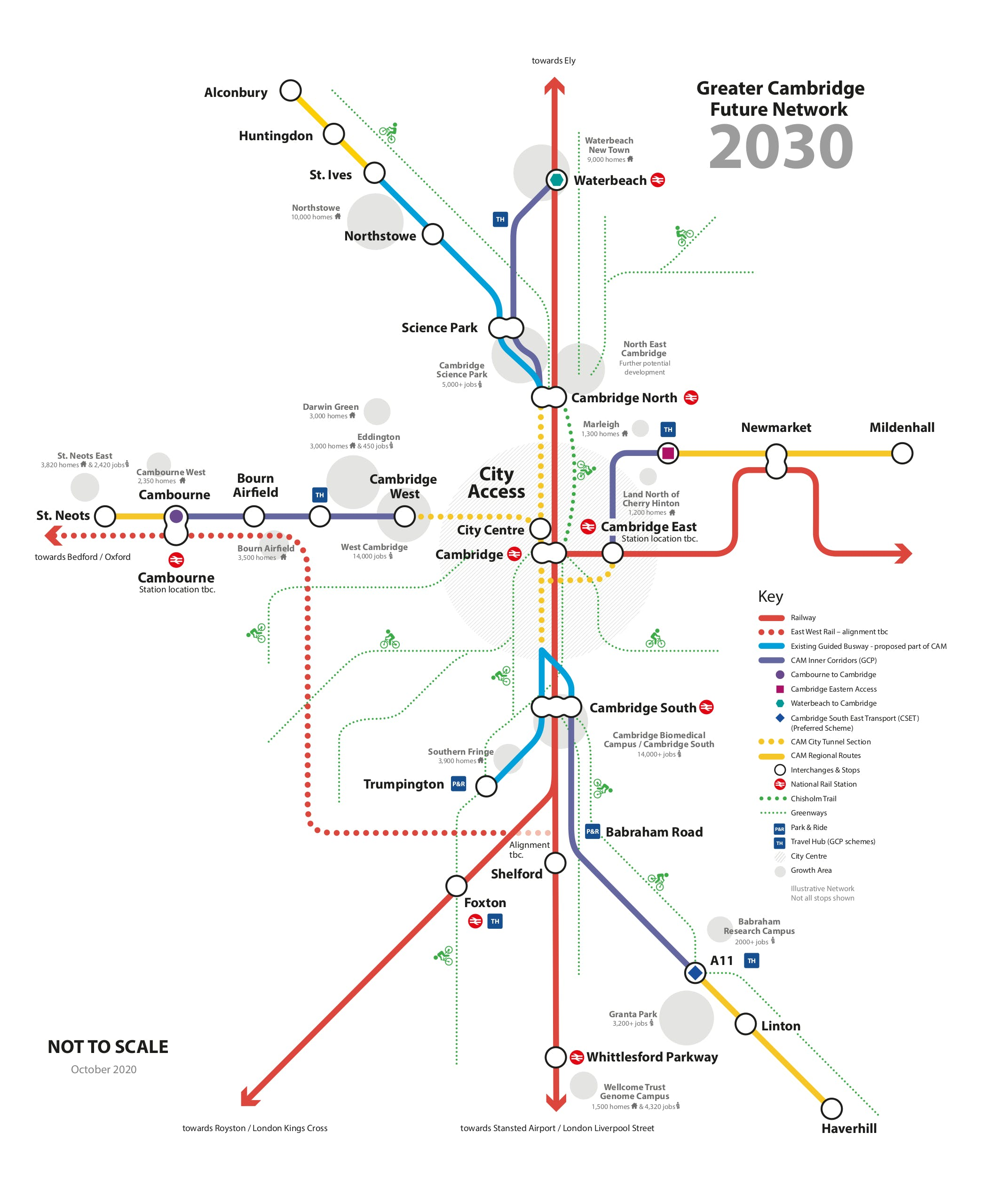 Tube style Greater Cambridge Network map 2030