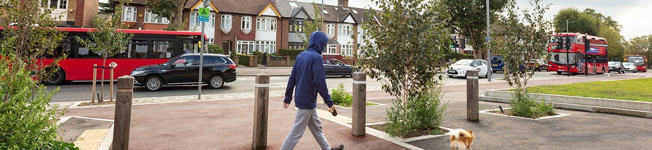 Person walking along street