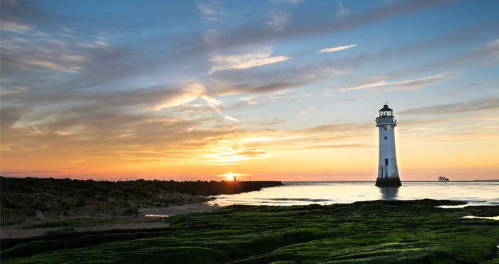 New Brighton sunset with lighthouse