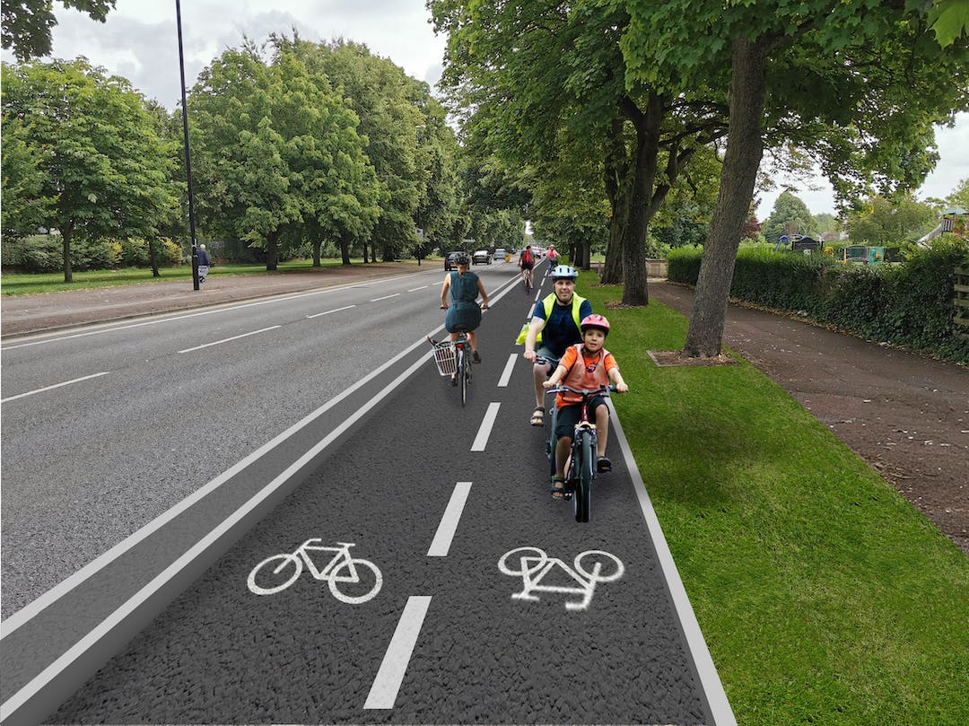 Image of what the segregated cycleway might look like at Stoke Green