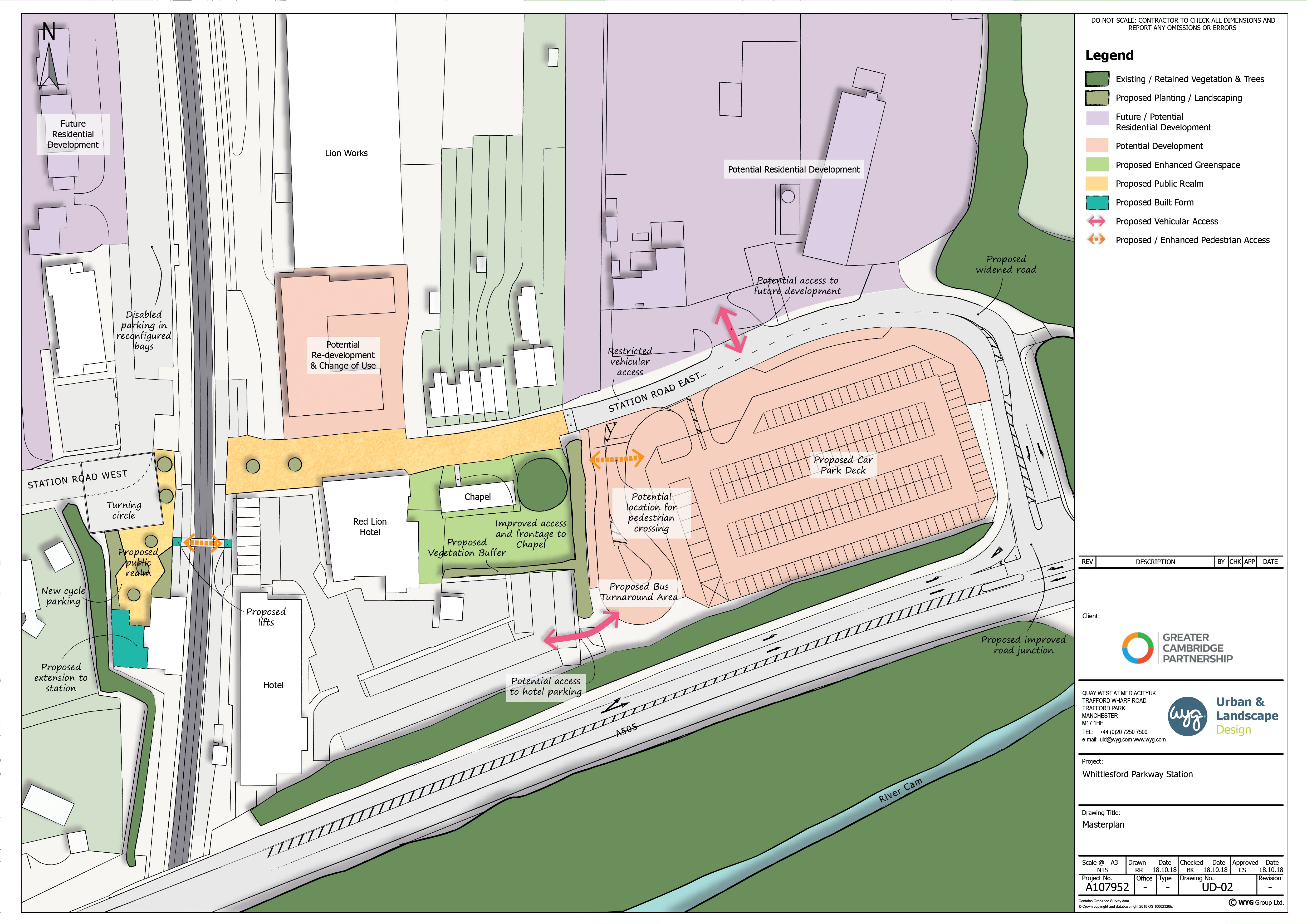 Map of proposed schemes around Whittlesford Parkway station