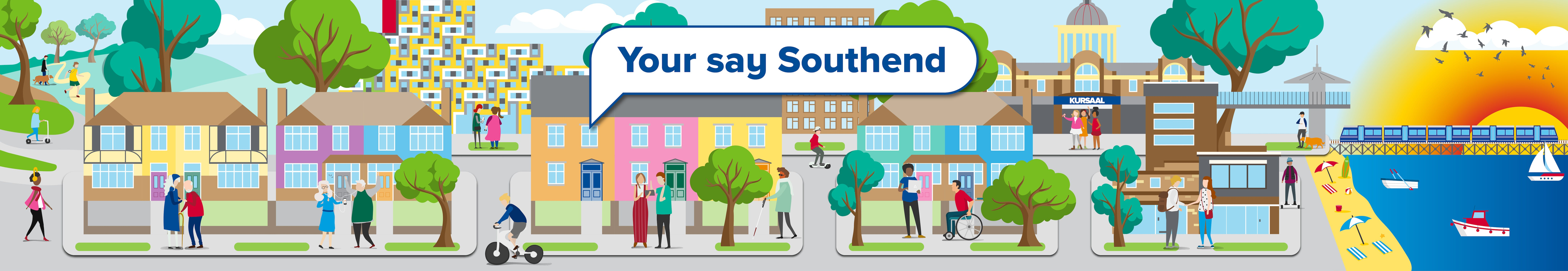 Your say Southend banner,cartoon graphic landscape on Southend with the Kurasal, pier, seaside and residents