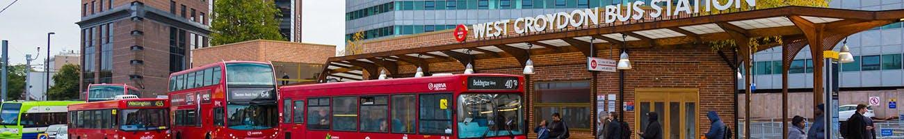 Single deck bus outside West Croydon Bus Station