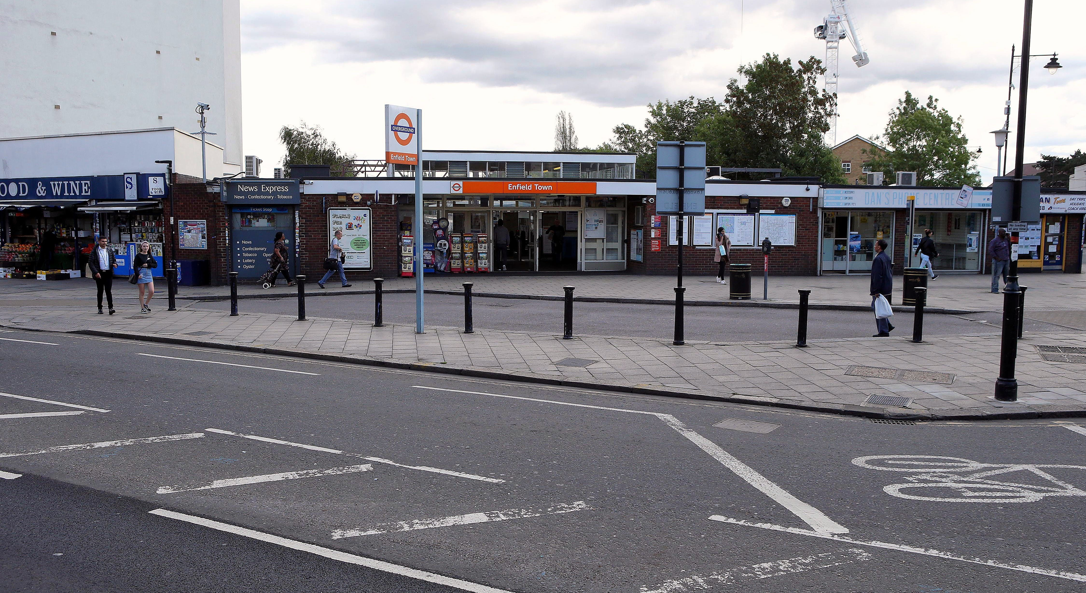 A view of the Enfield Town Station Plaza
