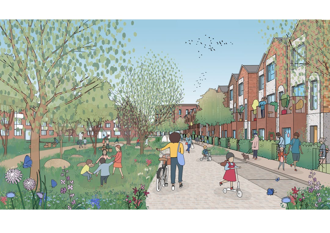 An artist's impression of the new development alongside Padnall Lake