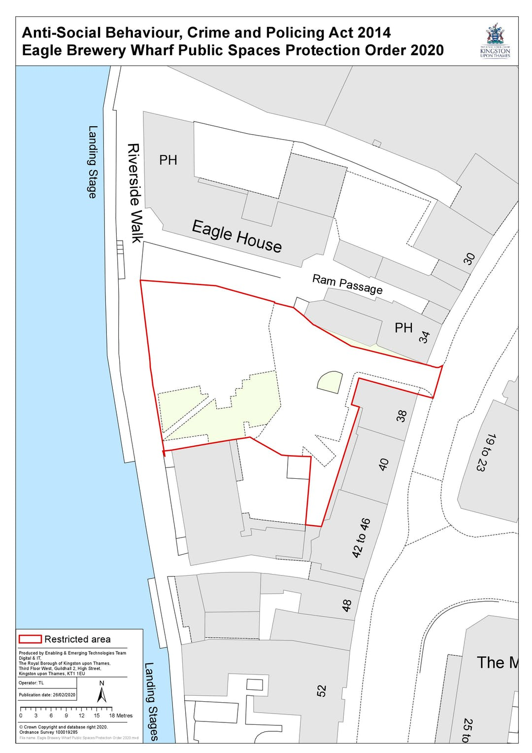 A map of the proposed area for the PSPO. This covers Eagle Brewery Wharf Open Space, an area surrounded by residential and business premises between Riverside Walk and High Street, Kingston upon Thames, KT1.