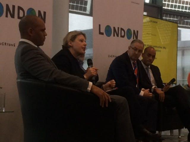 Cllr Aiken speaking at the London Mayor's International Summit on Social Integration