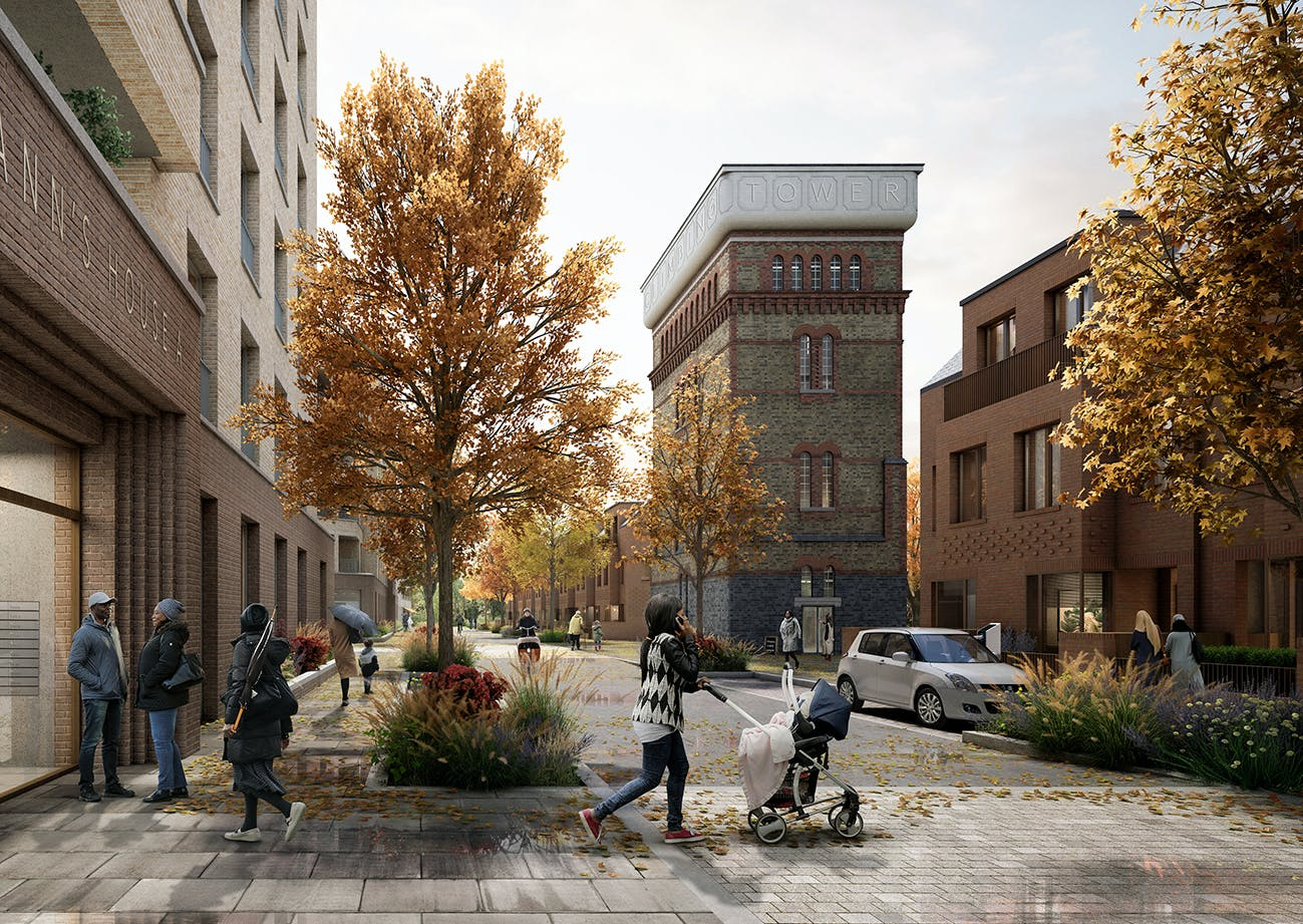 Autumn View of the retained water tower and a new residential street, with street planting and many front doors